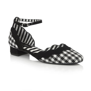 Ruby Shoo Ladies Lydia Black White Check Mary Jane Shoe