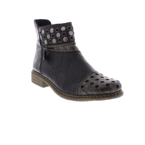 Stud and Zipper Decorated Ankle Boots