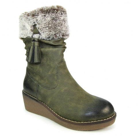 Lunar Ladies Wedge Heel Mid Calf Boot Webb