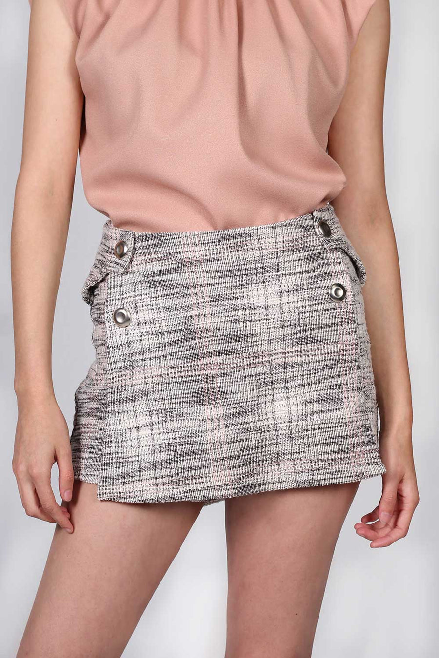 FALDA SHORT TWEED CASUAL MODA UNICO X03104