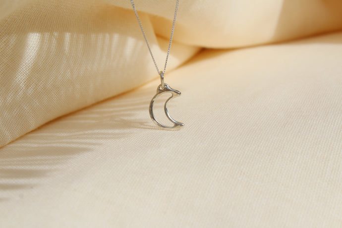 Silver Moon crescent necklace