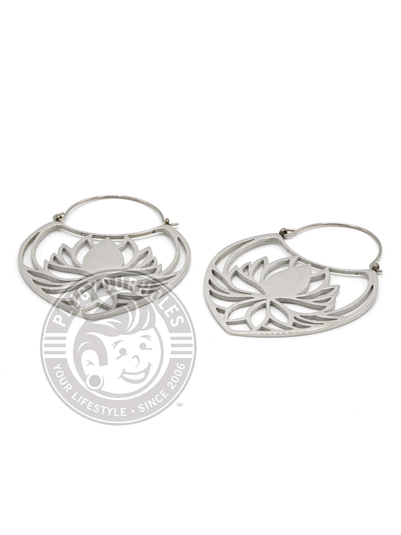 Lotus Dangle Hoop Steel Earrings