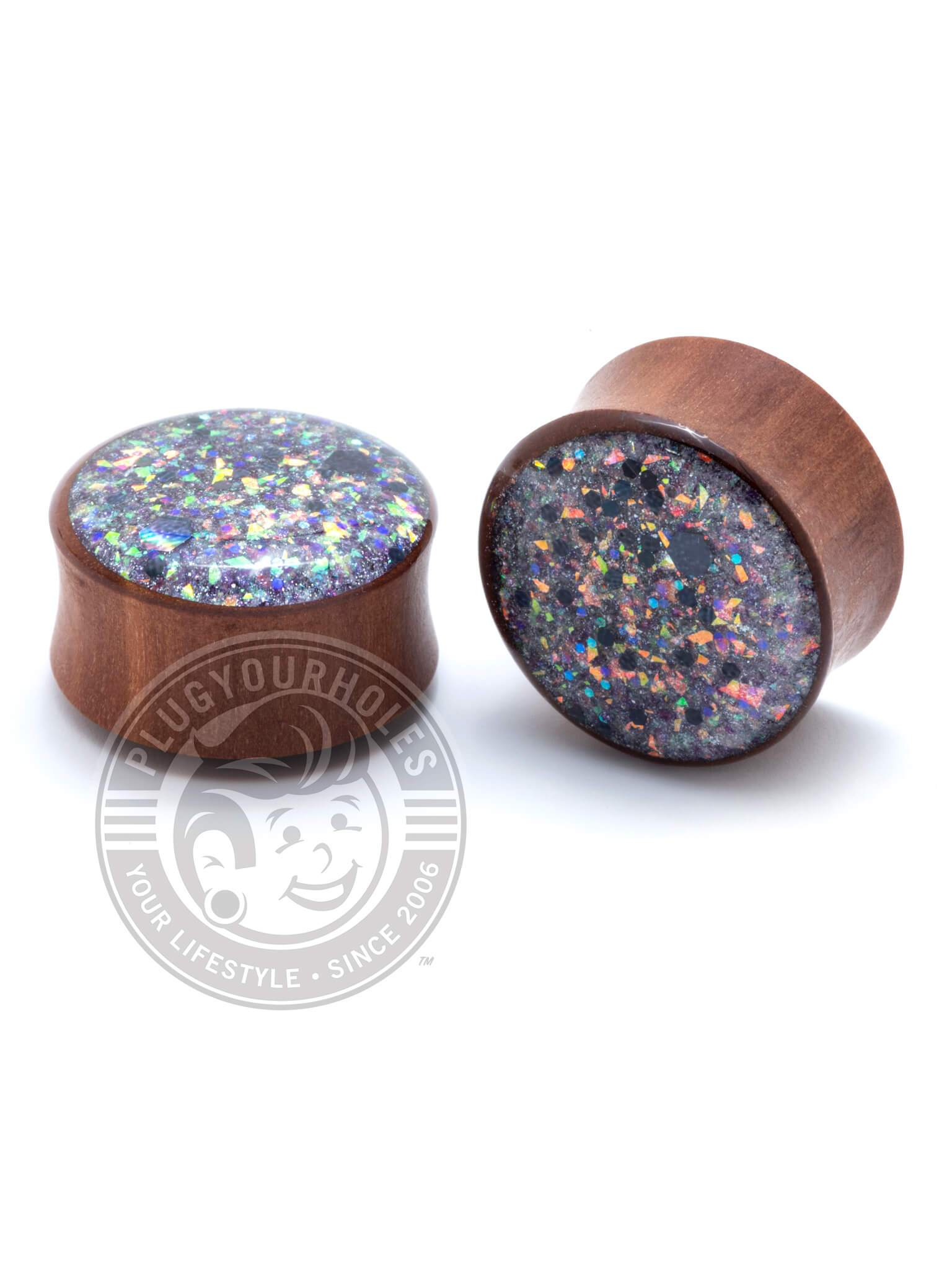 Purple Glitter Handcrafted Wood Plugs