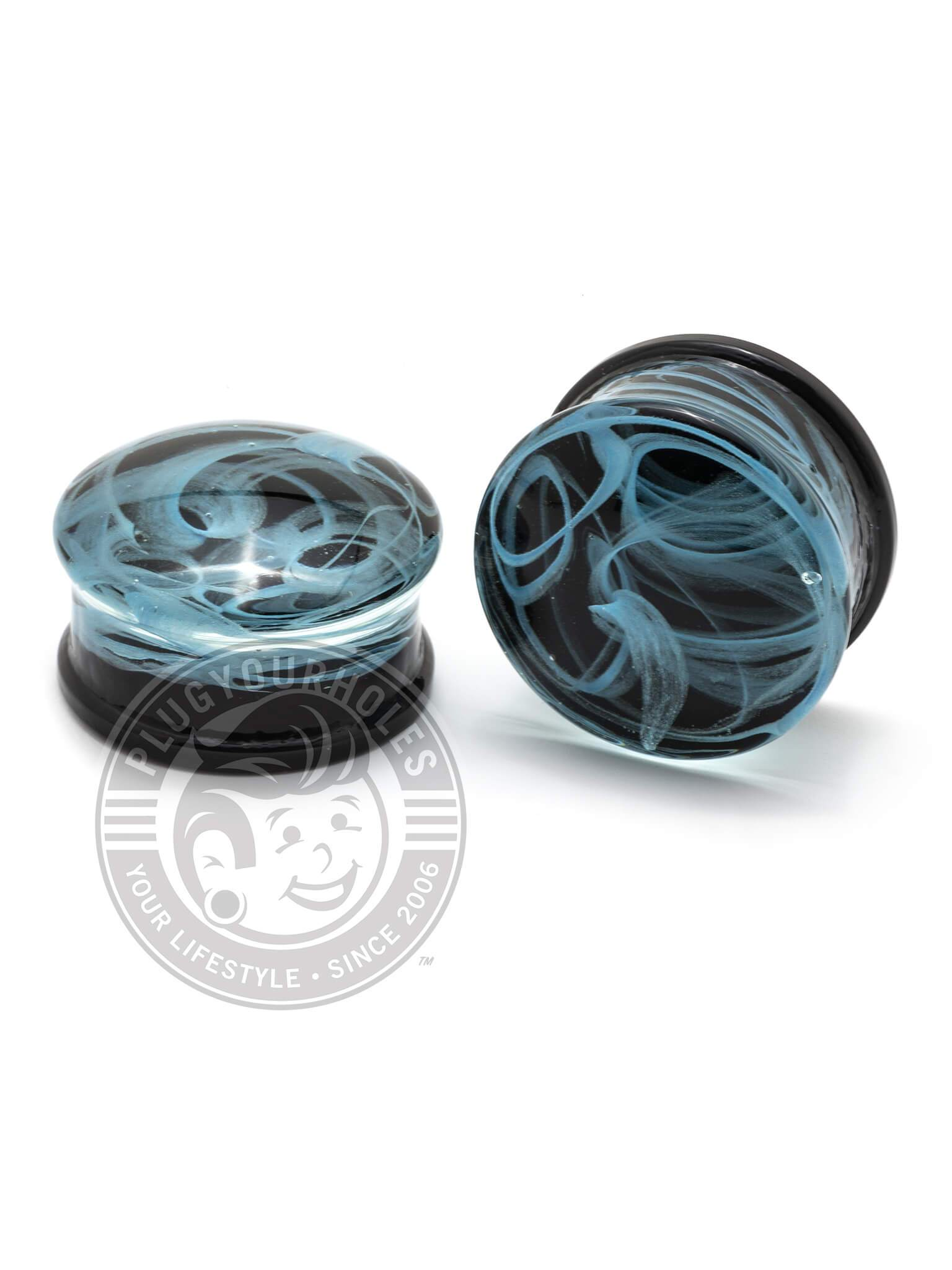 Black & Teal Smoke Pyrex Glass Plugs