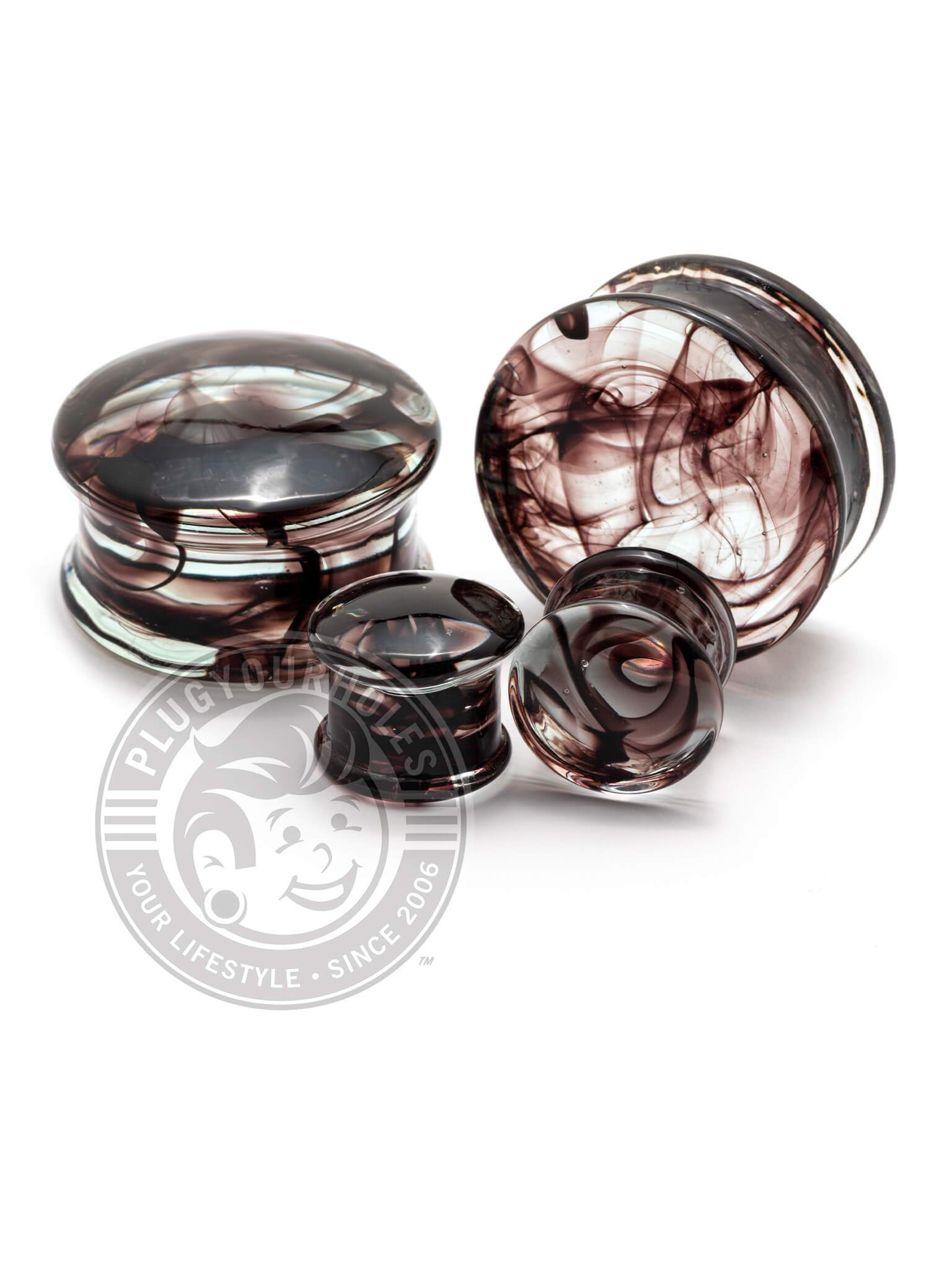 Maroon Smoke Pyrex Glass Plugs