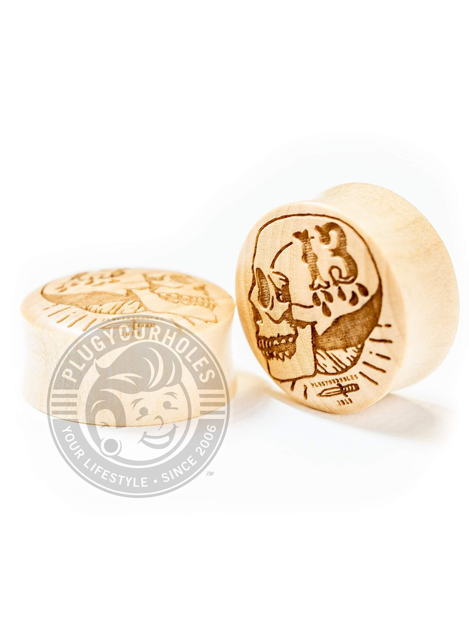13 Years Skull - Engraved Wood Plugs