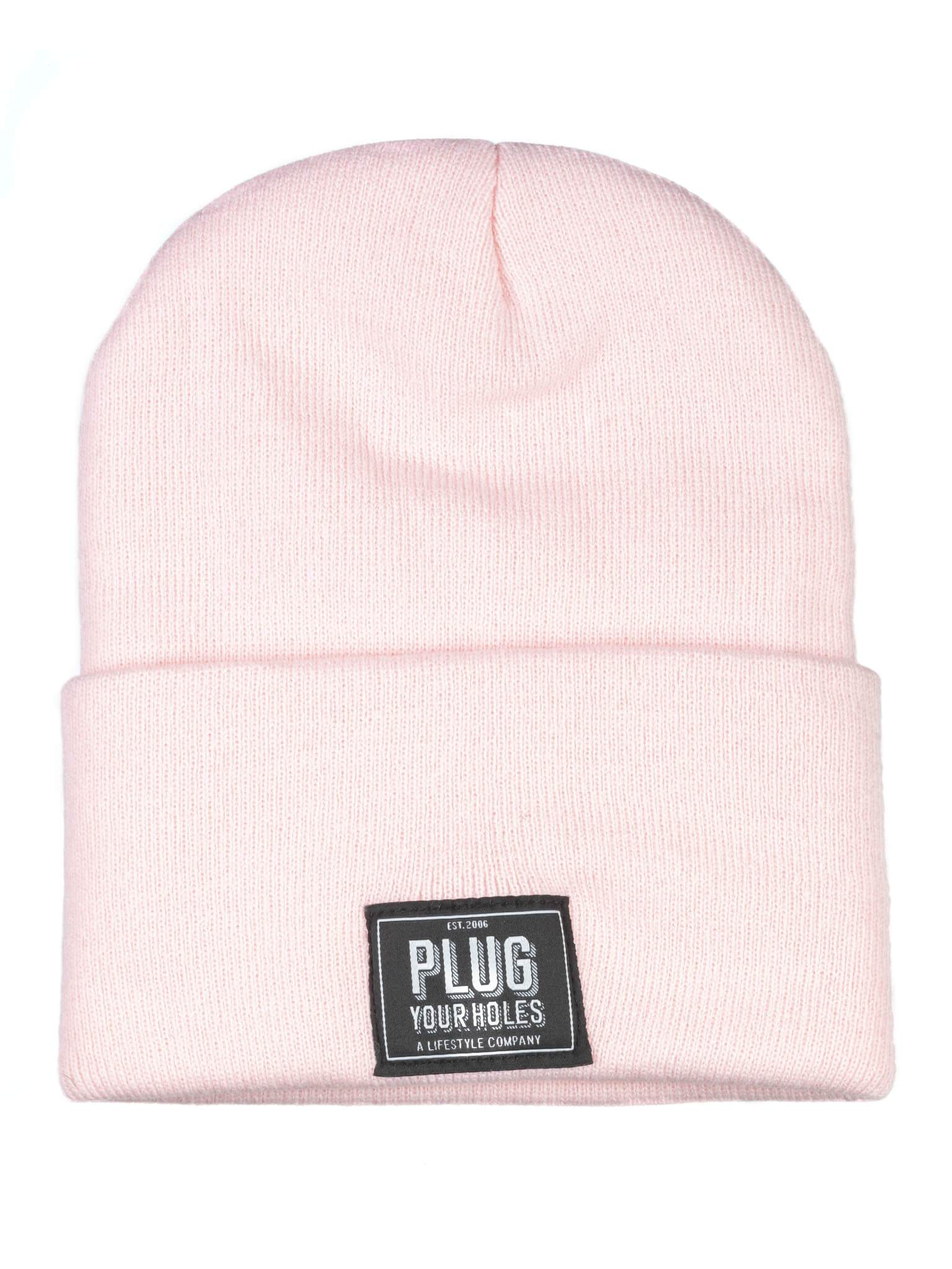 Plug Your Holes Pink Knit Beanie