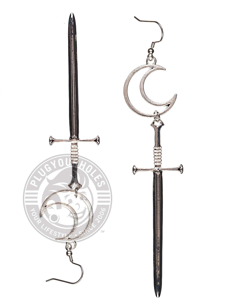 Moon Sword Steel Earrings