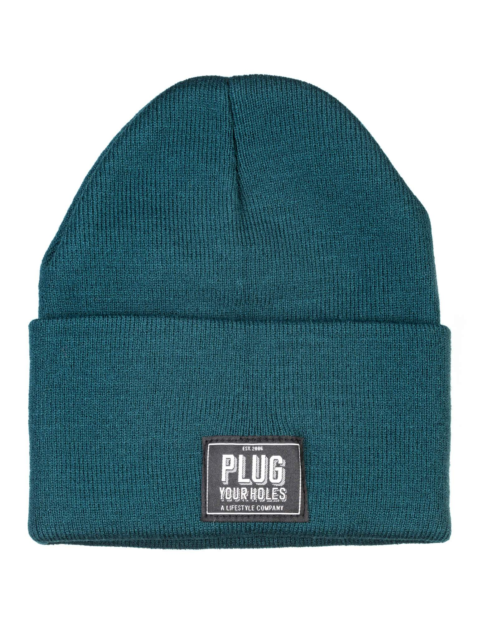 Plug Your Holes Hunter Green Knit Beanie