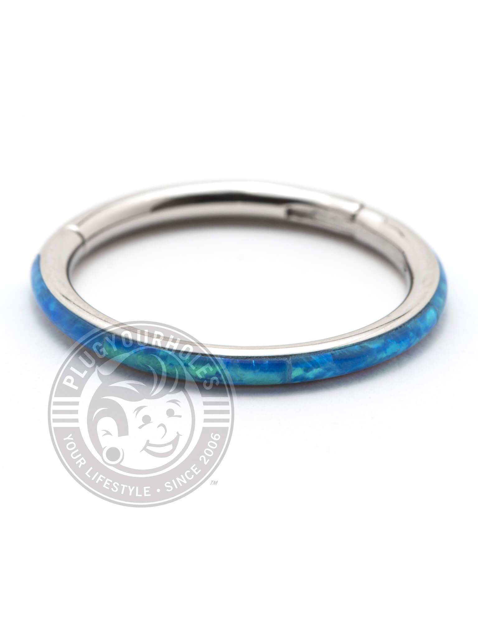 Blue Opal Ring Steel Clicker