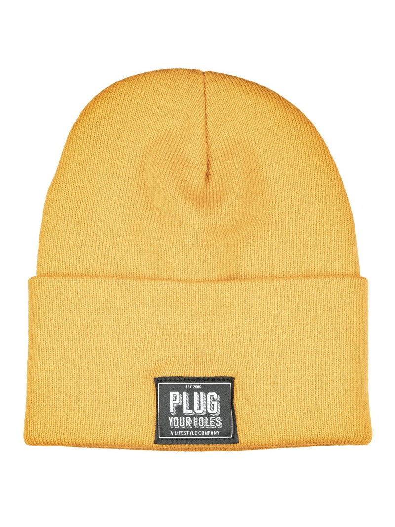 Plug Your Holes Yellow Knit Beanie
