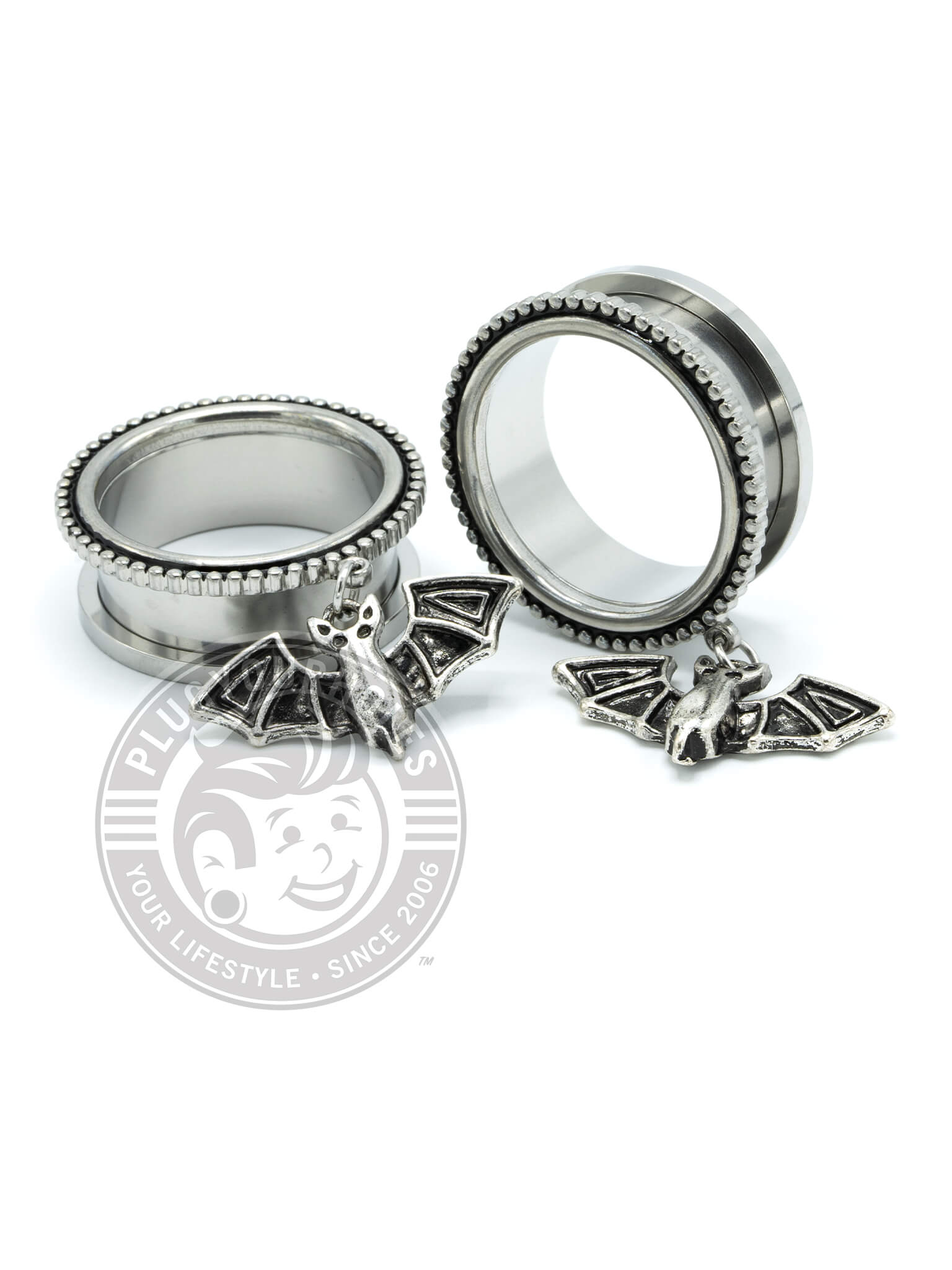 Bat Dangle Beaded Threaded Steel Tunnels