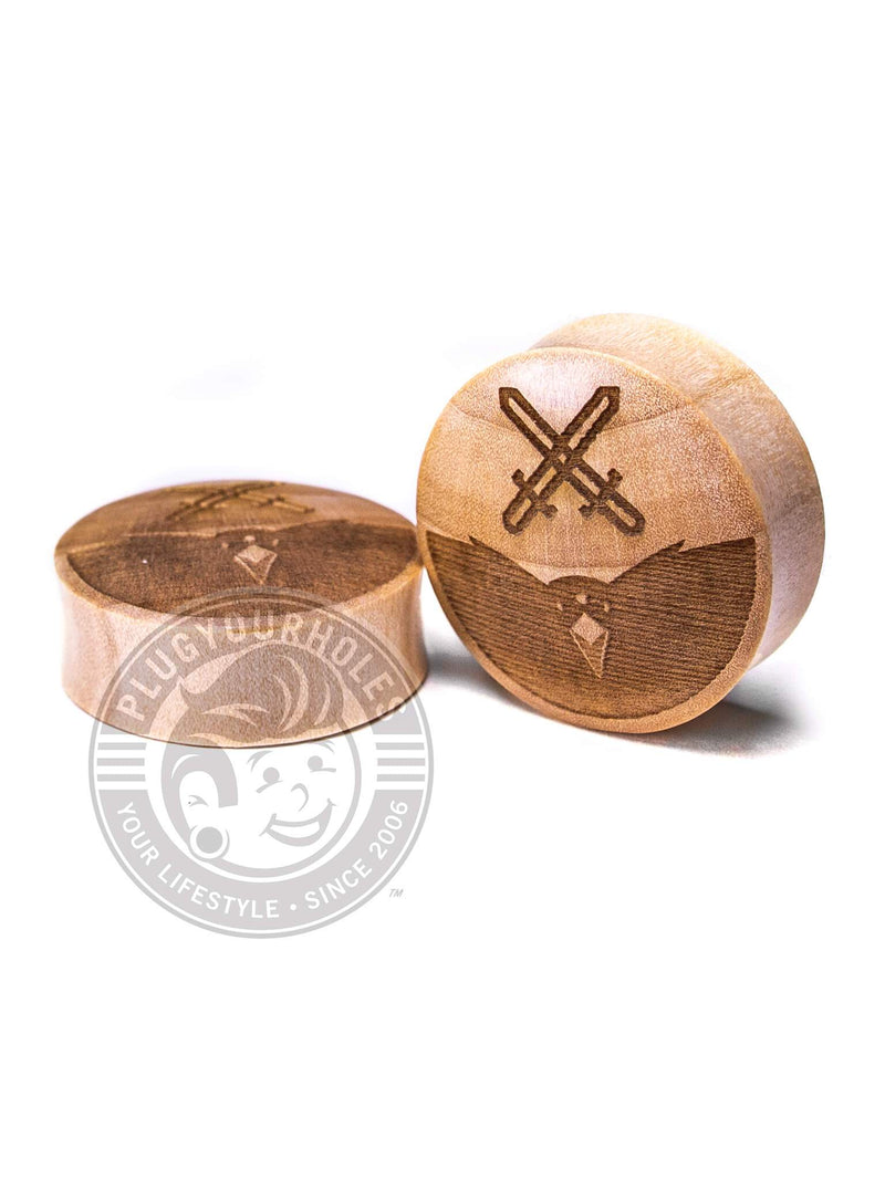 3 Eyed Raven GOT - Engraved Wood Plugs