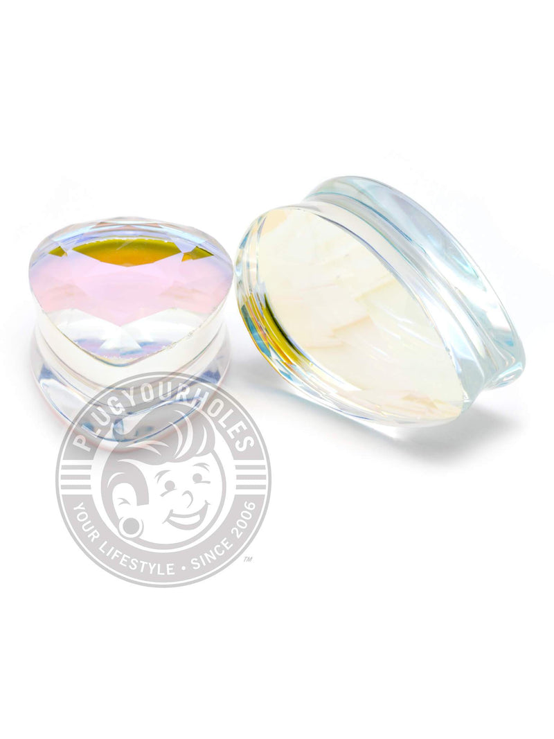 Aurora Gem Cut Stone Teardrop Plugs