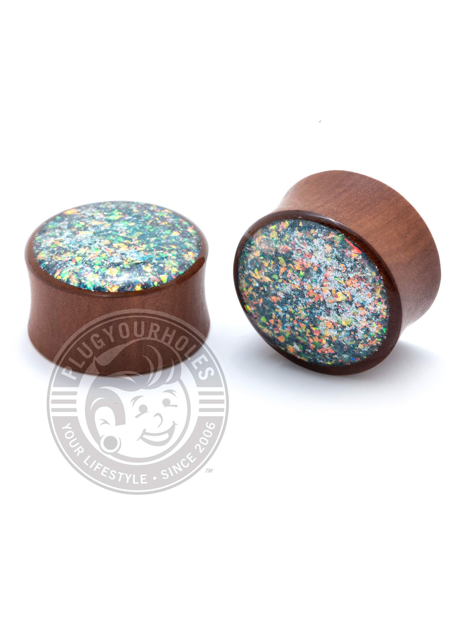 Blue Glitter Handcrafted Wood Plugs