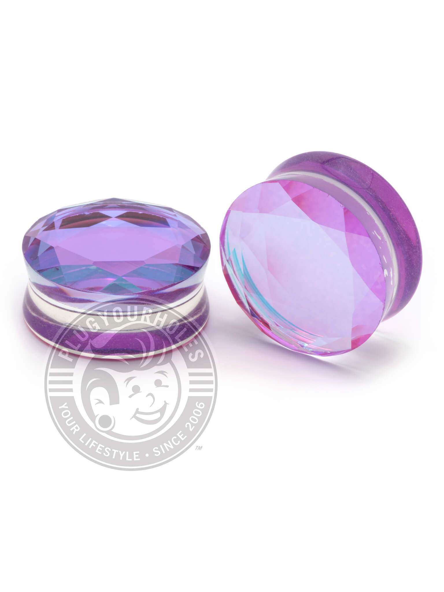 Purple Aurora Gem Cut Stone Plugs