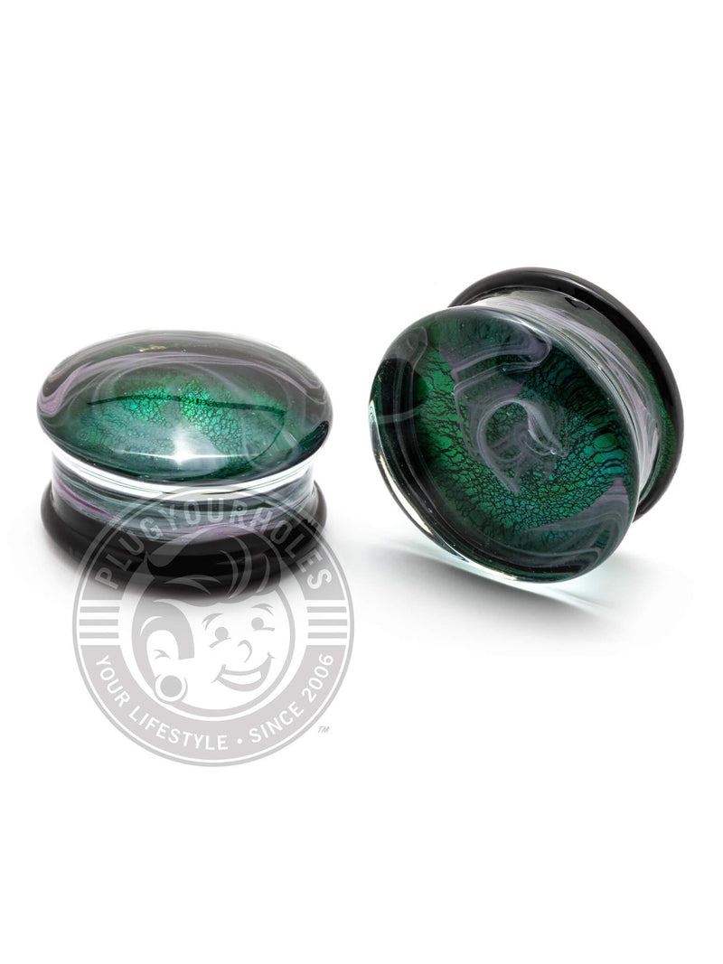 Green & White Smoke Pyrex Glass Plugs