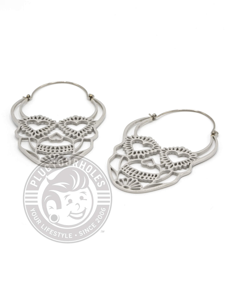 Sugar Skull Dangle Hoop Steel Earrings