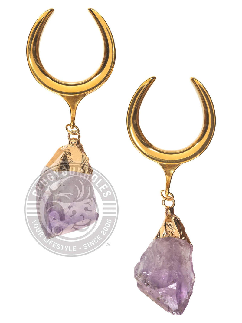 Amethyst Dangle Gold Steel Crescent Saddles