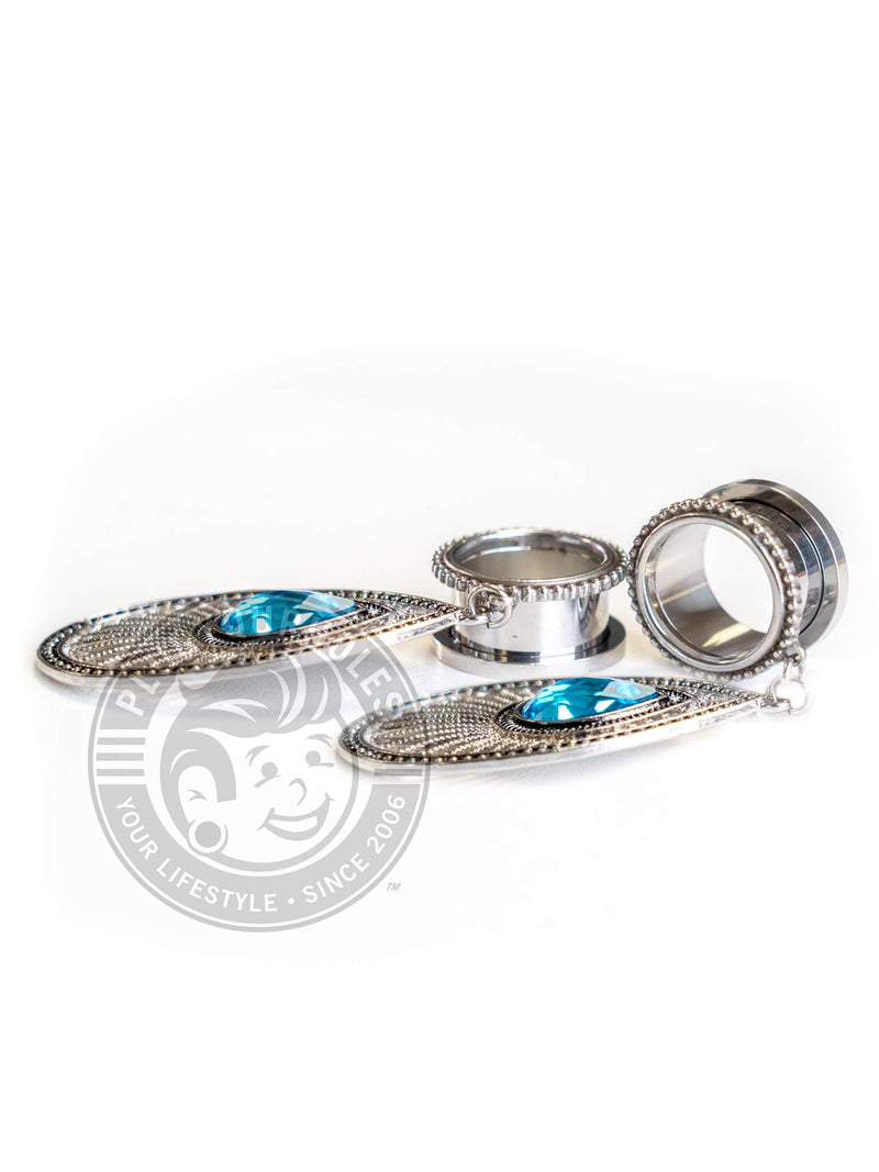 Aqua Teardrop Dangle Beaded Threaded Steel Tunnels