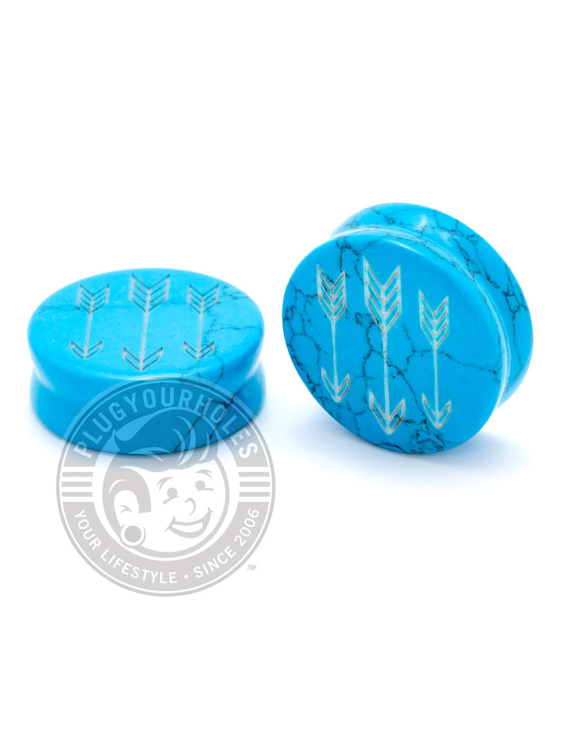 Arrows Engraved Turquoise Stone Plugs