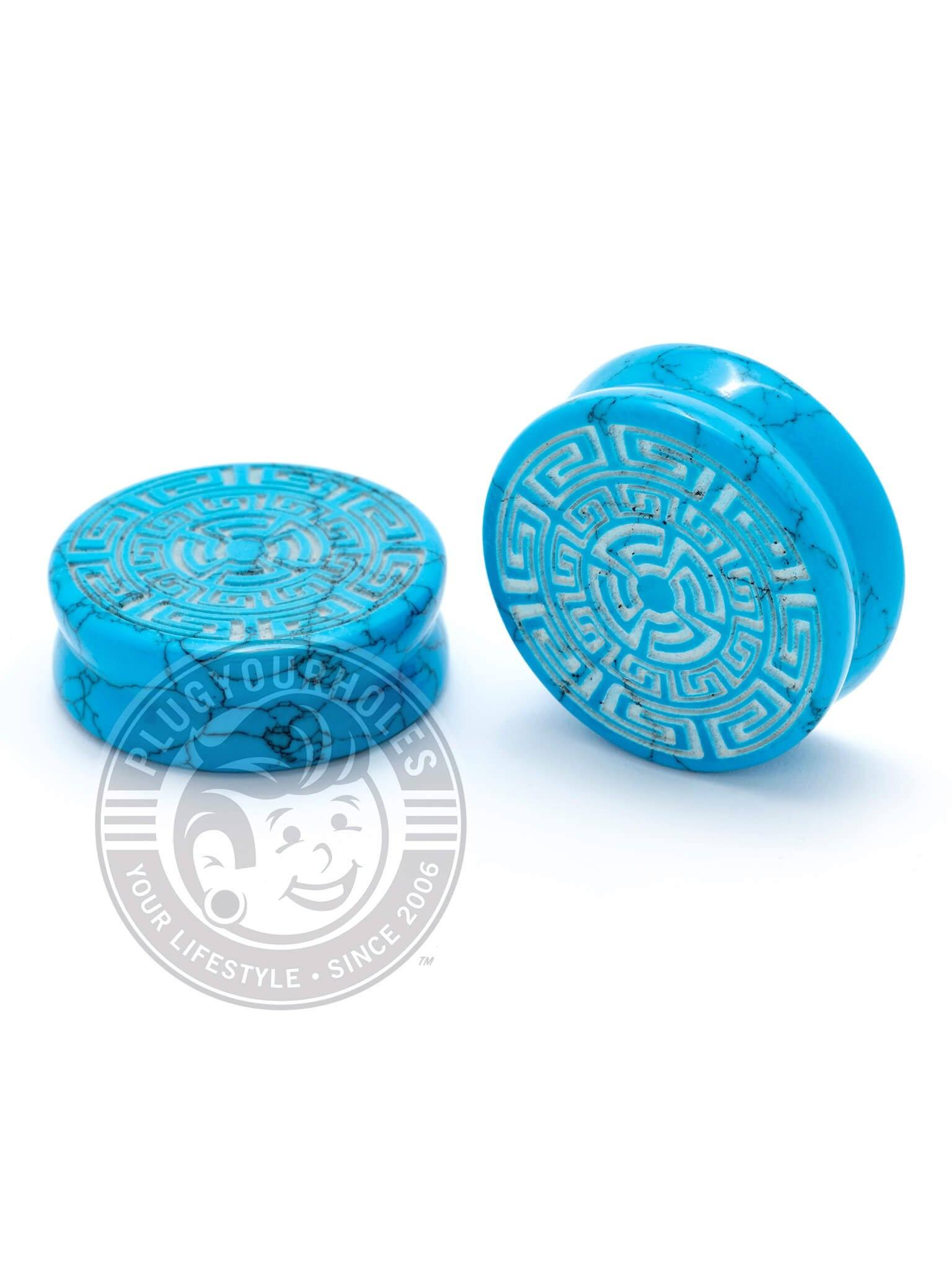 Aztec Circle Pattern Engraved Turquoise Stone Plugs