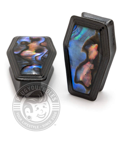 Black Coffin Abalone Inlay Steel Plugs