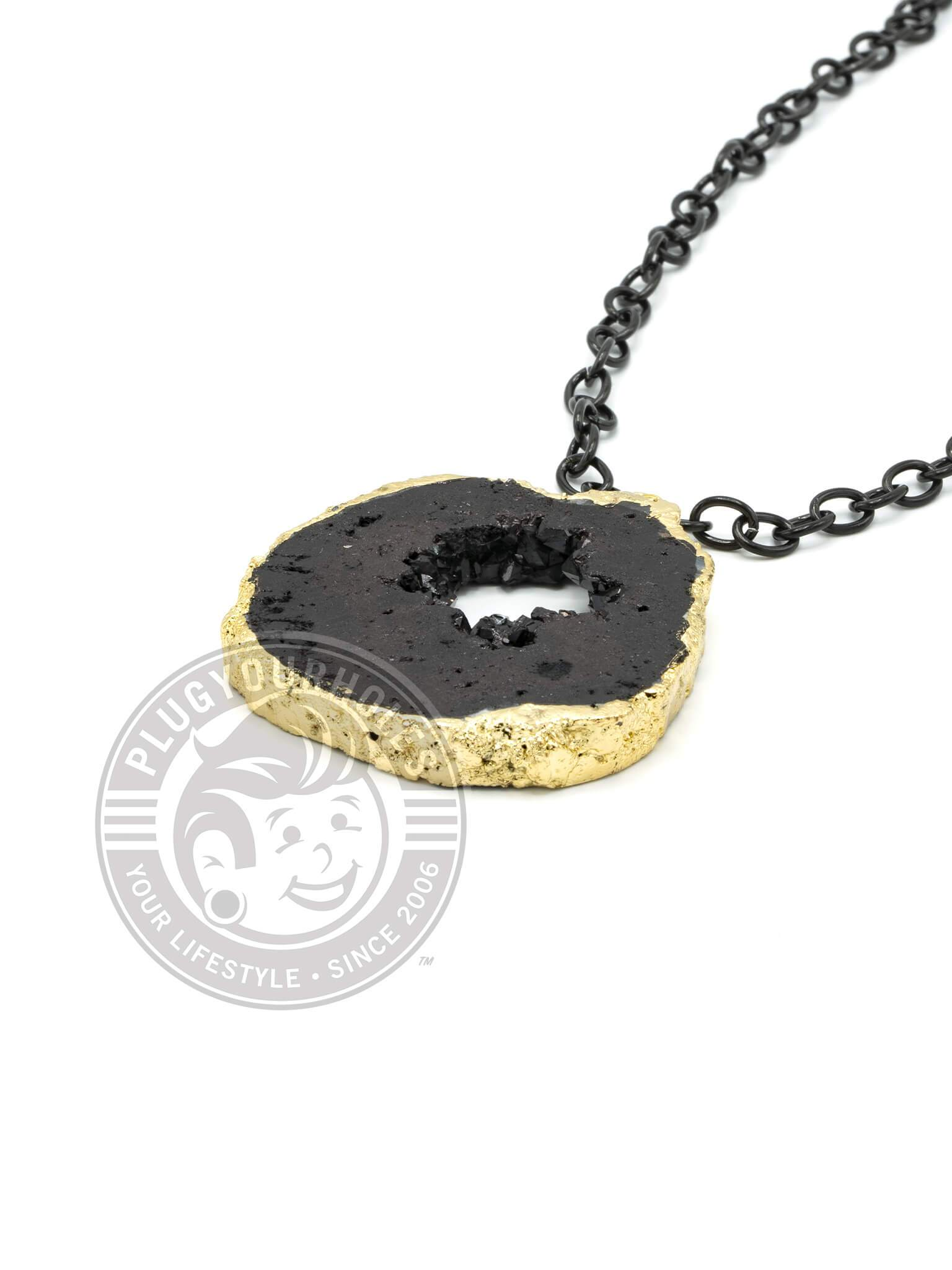Black Crystalized Geode Slice Necklace