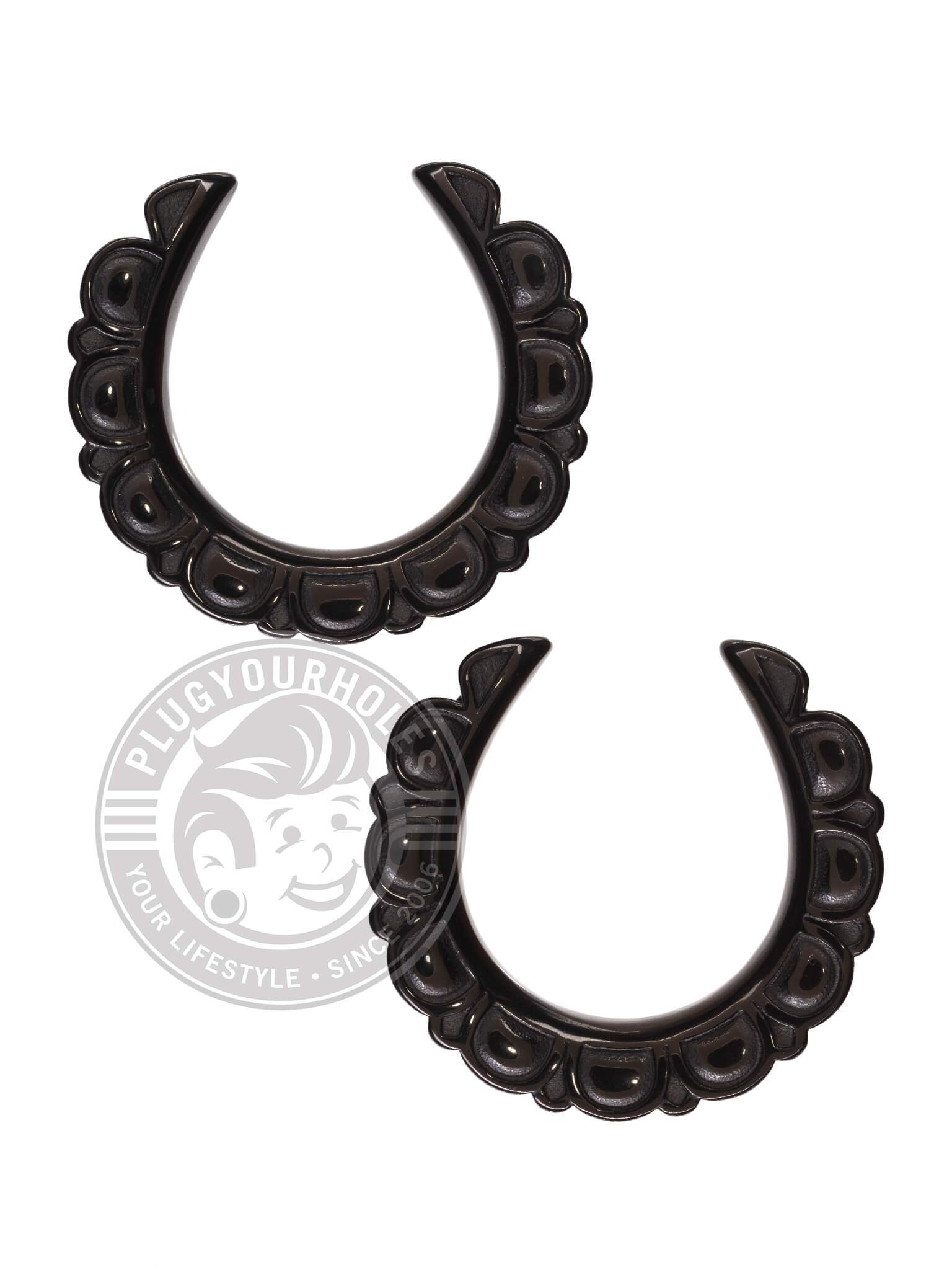 Black Mandala Petals Crescent Steel Saddles