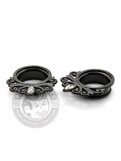 Black Single Prong Crystal Single Flared Steel Tunnels