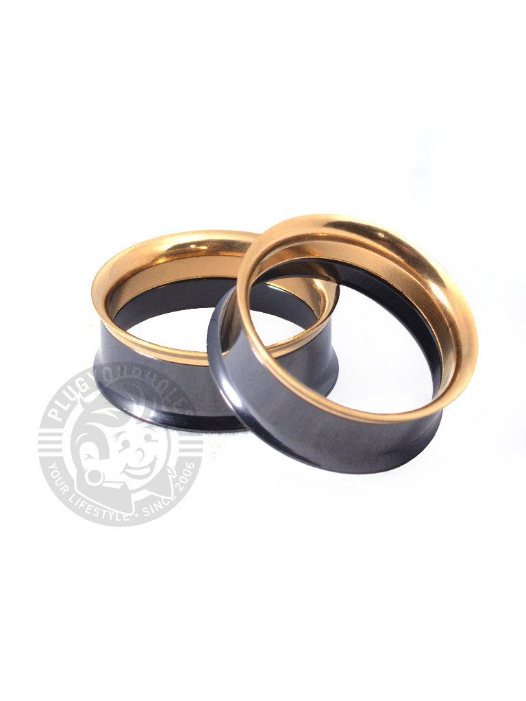 Black & Gold Internally Threaded Steel Tunnels