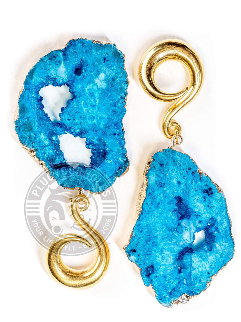 Blue Crystalized Geode Slice Gold Curled Hook Hangers
