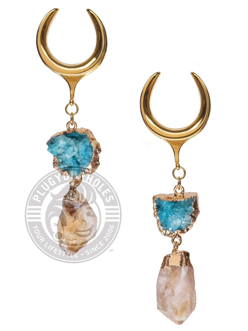 Blue & Amber Stone Dangle Gold Steel Crescent Saddles
