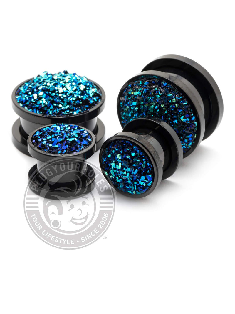 Blue Druzy Stone Black Threaded Steel Plugs