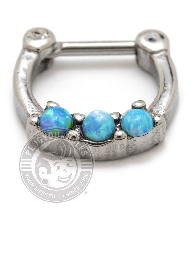 Blue Opalite Three Prong Steel Septum Clicker