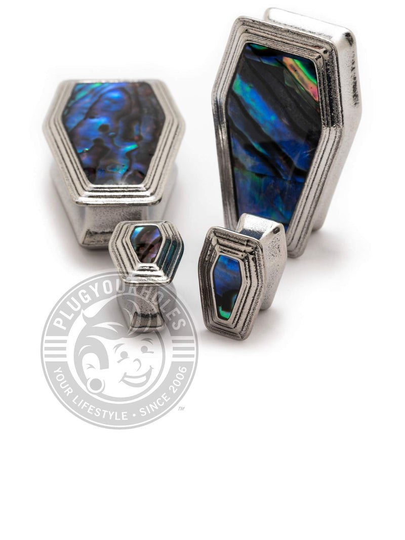 Coffin Abalone Inlay Steel Plugs