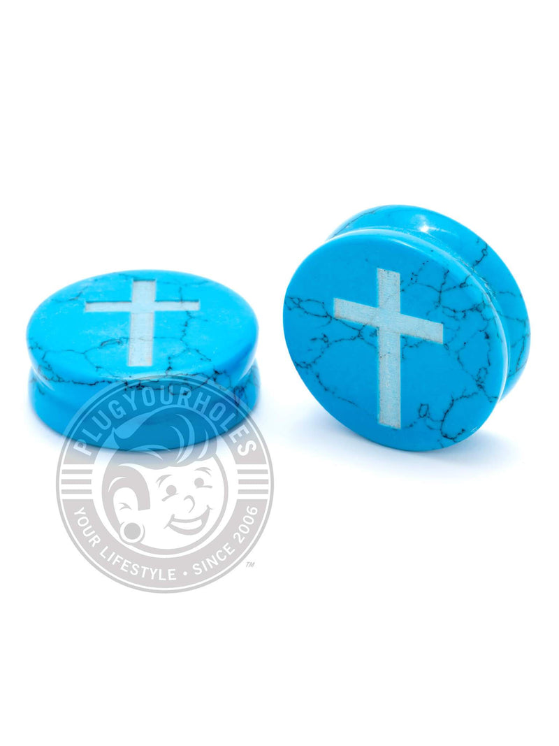 Cross Engraved Turquoise Stone Plugs
