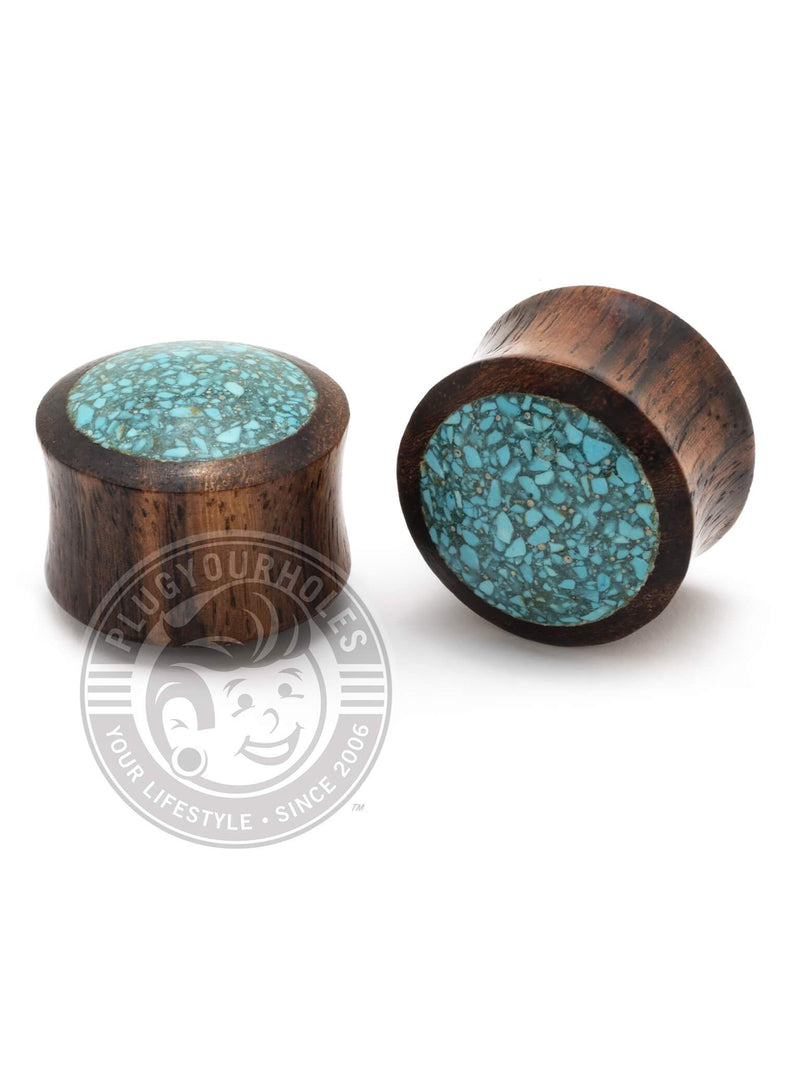 Crushed Turquoise Inlay Sono Wood Plugs