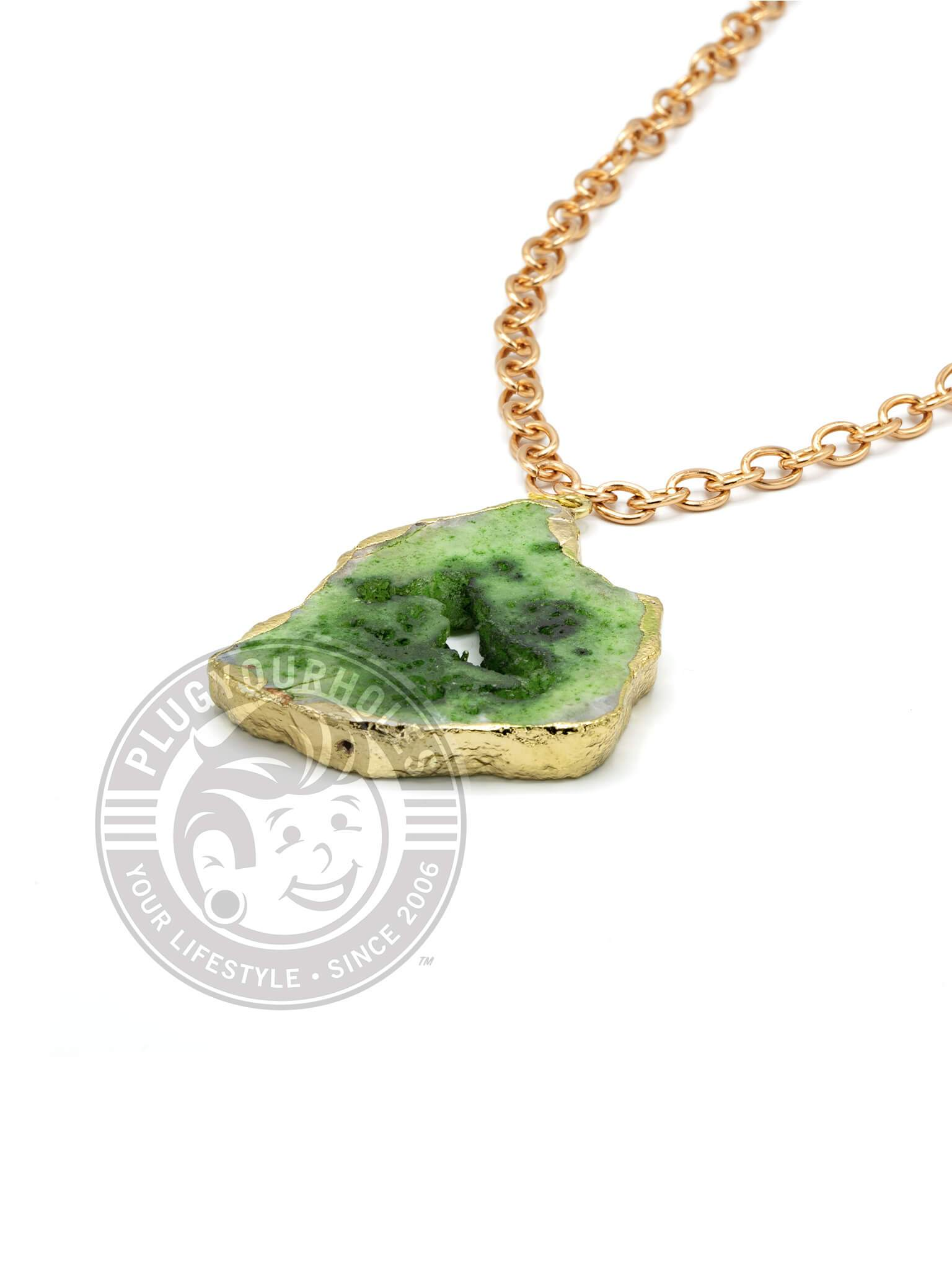 Emerald Green Crystalized Geode Slice Necklace