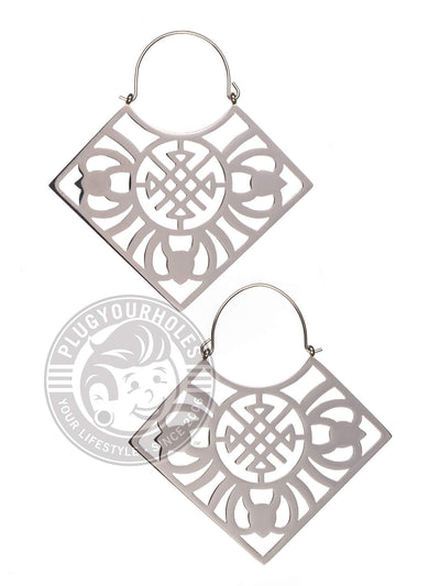 Geometric Square Dangle Hoop Steel Earrings