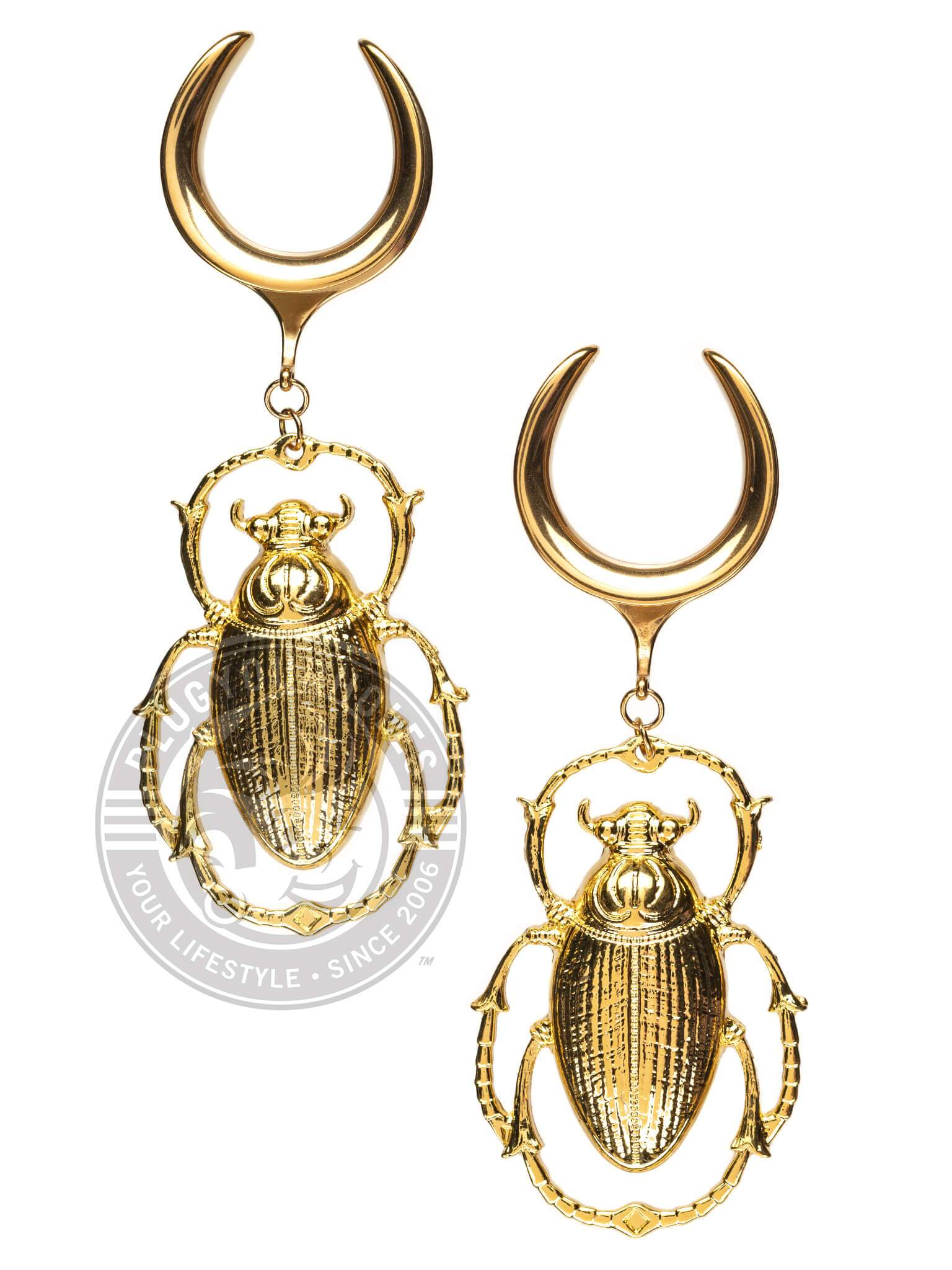 Gold Beetle Dangle Steel Crescent Saddles