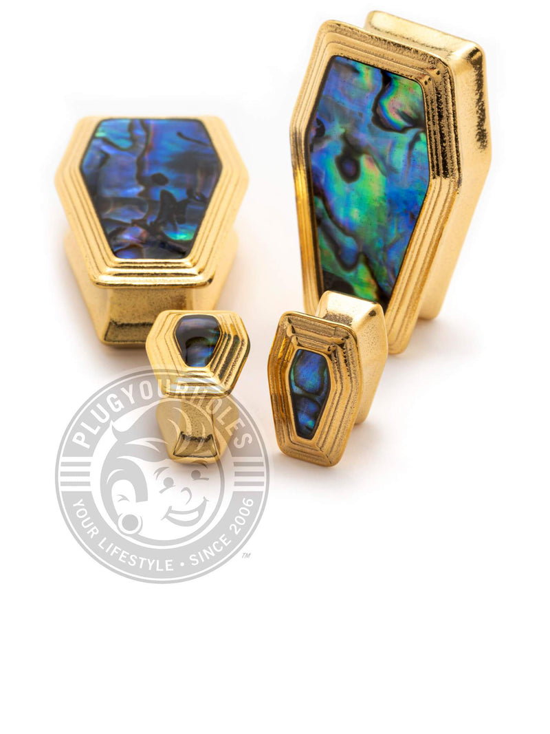Gold Coffin Abalone Inlay Steel Plugs