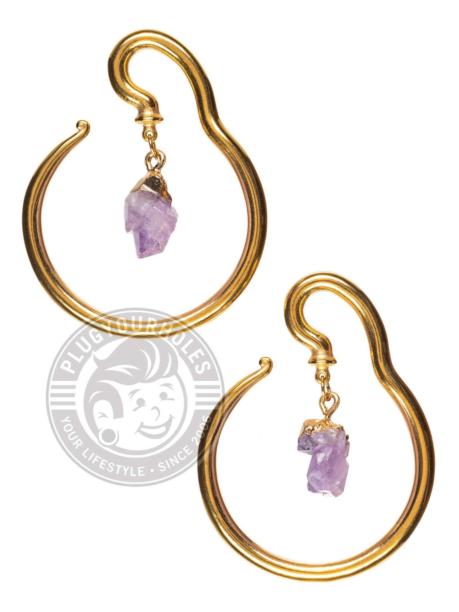 Gold Thin Hook with Amethyst Dangle Steel Hangers
