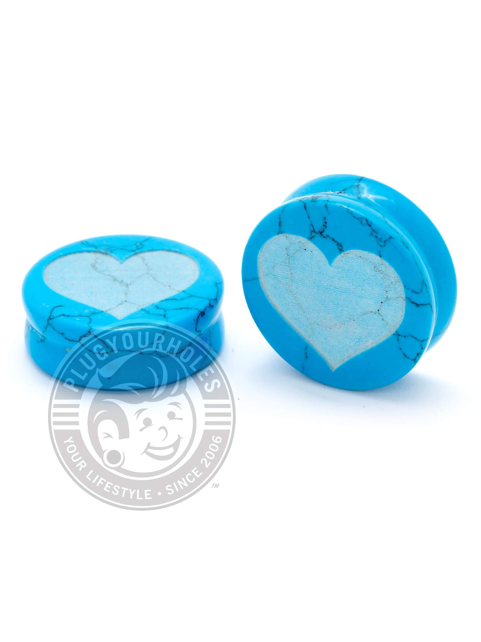 Heart Engraved Turquoise Stone Plugs