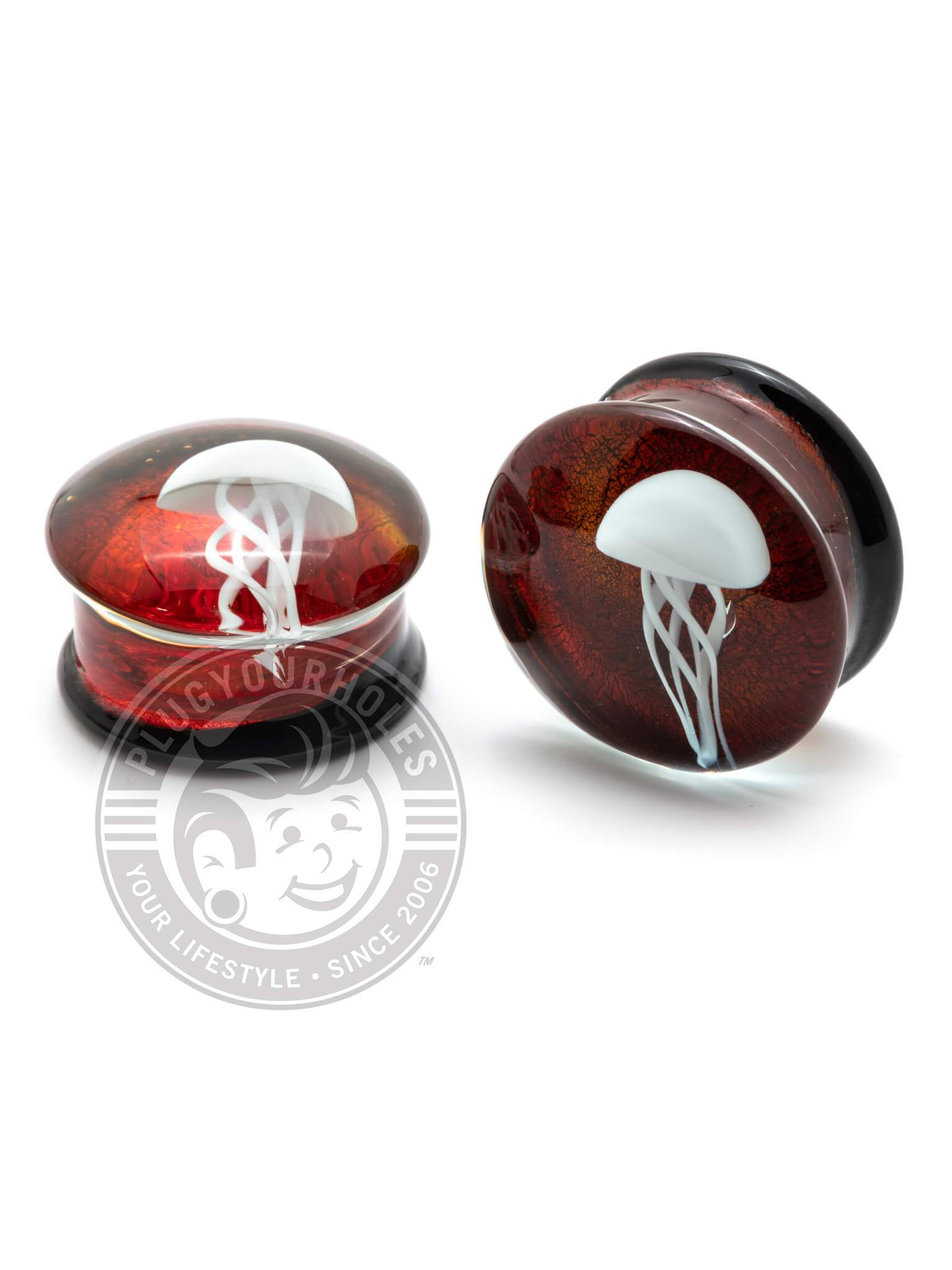 Jellyfish Orange Pyrex Glass Plugs
