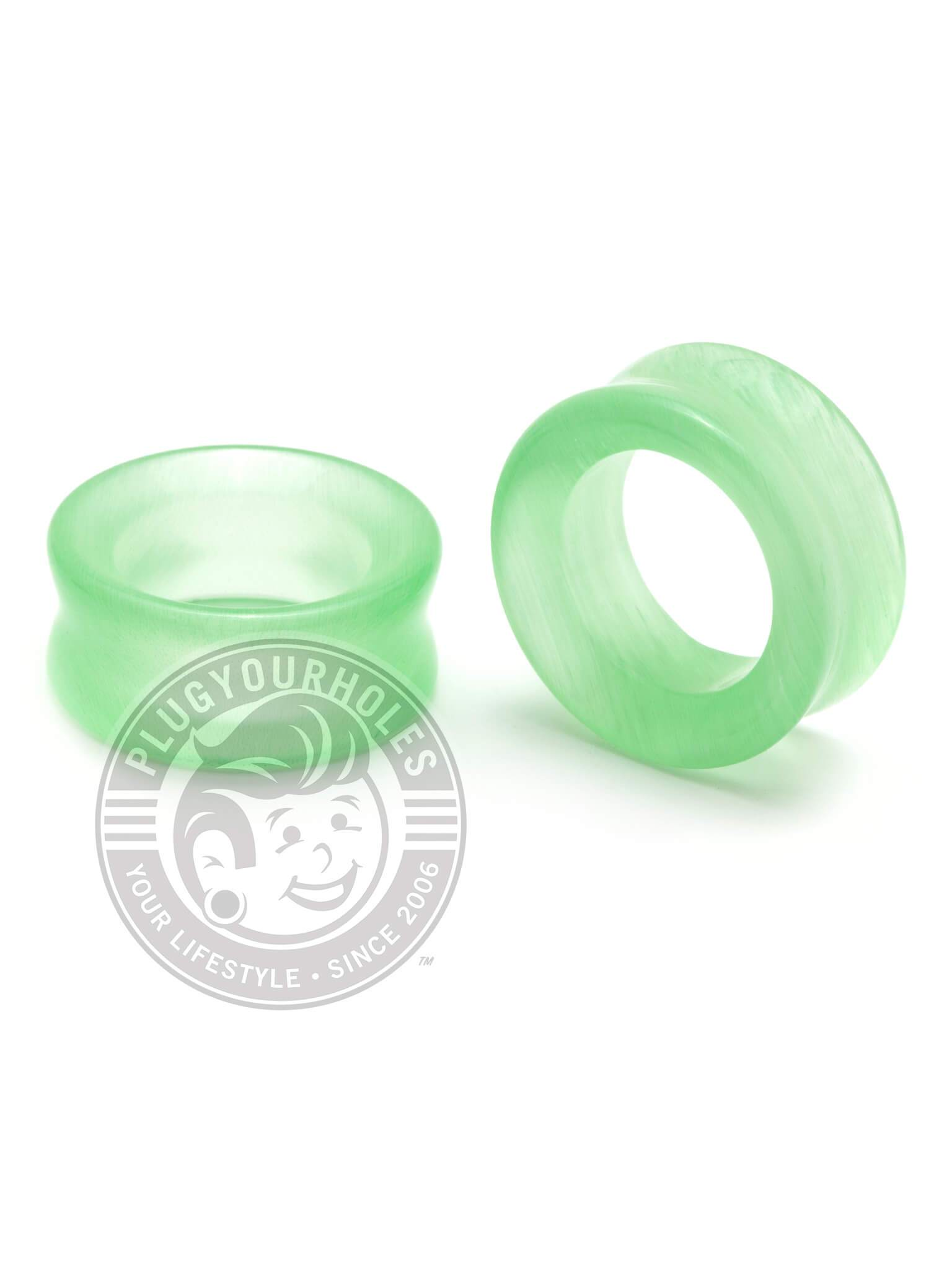 Lime Green Cat's Eye Stone Tunnels