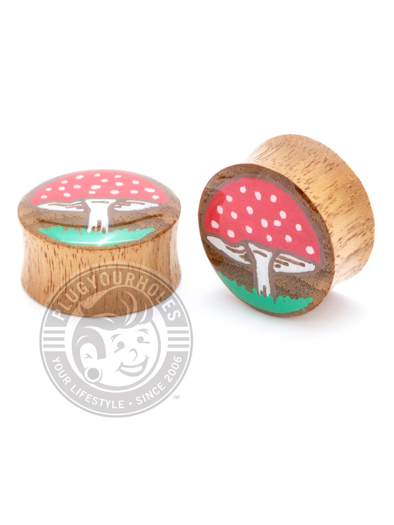 Mushrooms Hand-Painted Wood Plugs :: LIMITED PRODUCTION