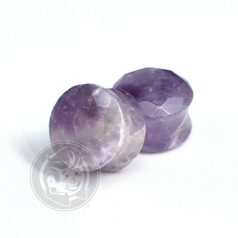 Amethyst Gem Cut Stone Plugs