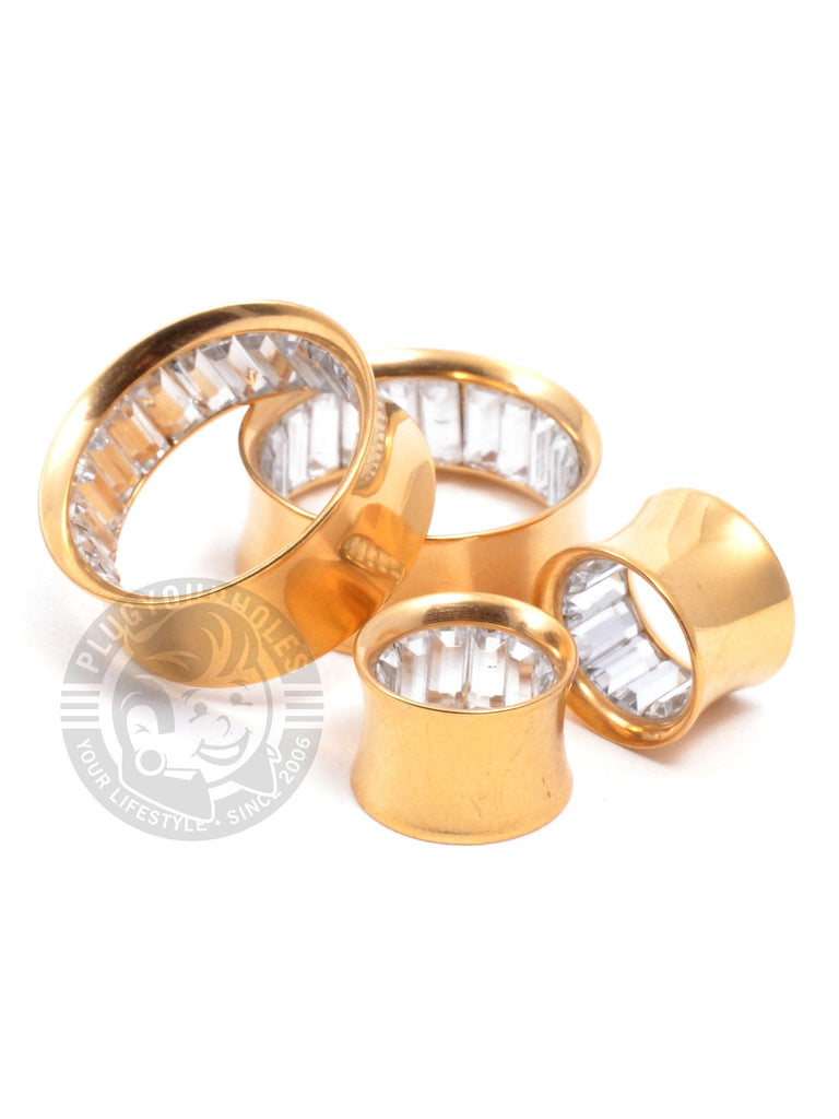 Gold with Bling Inside Double Flared Steel Tunnels - Plug Your Holes - Your Lifestyle, Since 2006.  - 2