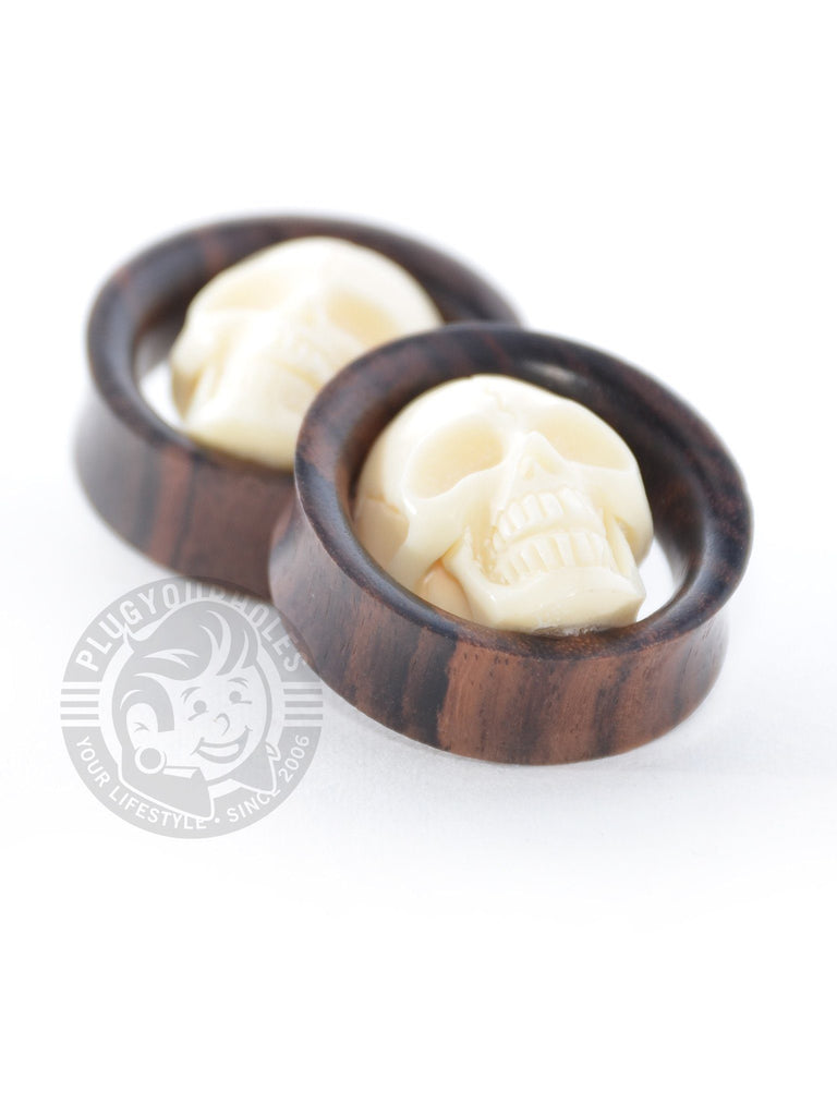 Sono Wood Tunnels with Carved Skull - Plug Your Holes - Your Lifestyle, Since 2006.  - 1